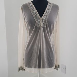Passport ivory sequence long sleeve top large